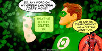 PopFig toy comic with Green Lantern and Deadpool.