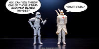 PopFig toy comic with a stormtrooper and Storm Shadow from G.I.Joe.