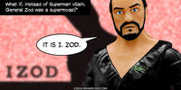 PopFig toy comic with General Zod wearing an Izod shirt.