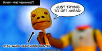 PopFig toy comic with Bossk carrying his head on a stick.