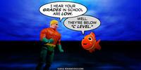 PopFig toy comic with Aquaman and Nemo.