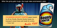 PopFig toy comic with Boba Fett advertising paper towels.