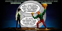 PopFig toy comic with Endless Sandman and shapeshifter Sandman.