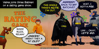 PopFig toy comic with Velma, Scooby, and three Batmen.