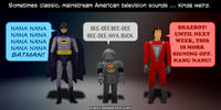 PopFig toy comic with Batman, Twiki, and Mork.