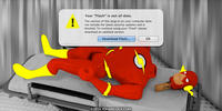 PopFig toy comic with Flash, broken.
