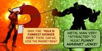 PopFig toy comic with Iron Man and the Hulk.