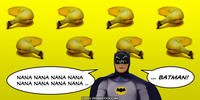 PopFig toy comic with bananas and Batman.