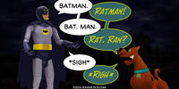 PopFig toy comic with Batman and Scooby-Doo.