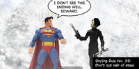 PopFig toy comic with Superman and Edward Scissorhands.