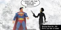 PopFig toy comic with Superman and Edward Scissorhands.