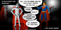 PopFig toy comic with Superman and stormtroopers with red capes.