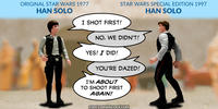 PopFig toy comic with 1977 Han Solo and 1997 Han Solo.