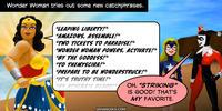 PopFig toy comic with Wonder Woman, Stargirl, and Harley Quinn.