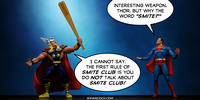 PopFig toy comic with Thor and Superman.