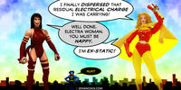 PopFig toy comic with Elektra, Electra Woman, and Static.