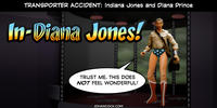 PopFig toy comic with Indiana Jones and Wonder Woman.